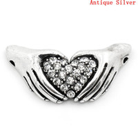 antique claddagh rings - Connectors Findings Claddagh Ring Antique Silver Clear Rhinestone x1 cm B26378