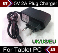 Wholesale DHL X V A EU US UK Plug Converter Charger Power Adapter for tablet PC Allwinner A13 A23 Q88 TC2