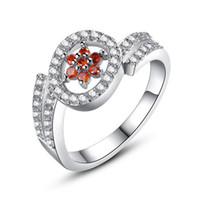 Wholesale Red Crystal Rhinestone Inlaid Cubic Zirconia Environmental Copper Material No Nickel Platinum Plating Wedding Engagement Ring R5930