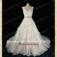 Cheap Stunning design new model straps real sample wedding dress 2013 with lace NS80