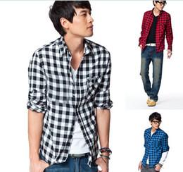 Wholesale MENS VINTAGE PLAID CHECK LONG SLEEVE SHIRT slim fit shirts for men High Quality