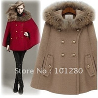 Cheap coats New arrival fashion fur collar poncho with a hood overcoat outerwear meters camel red