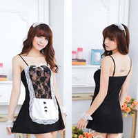 beautiful lingeries - New Arrival Beautiful game costume maid uniform lace straps skirt sexy underwear lingeries set