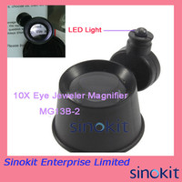 Wholesale 10X25mm Clock Magnifier Watch Repair Magnifier Loupe with white LED light repair watch clock loupe MG13B