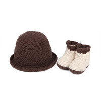 Girl shoes hats caps - Chic Baby s Shoes amp Hat Set Baby Wool Khaki Shoes Brown Cap infant Costume Outfit Set XDT21
