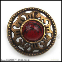 Wholesale Fashion Zinc Alloy Antique Bronze Tone with Red Bead Buttons Sewing Buttons Fit Scrapbooking Craft mm