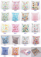 Wholesale Baby Waterproof Zippered Wet Dry Diaper Bag Owl Wet and Dry Cloth Diaper Bags Wet Swimsuit Bag Animal Printed by Melee WetBag cm