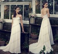 Cheap 2014 Greek Goddess Chiffon Sheath Beach Wedding Dresses Backless Strapless Sheer Lace Garden Fall Bridal Party Gowns Cheap Custom Made New
