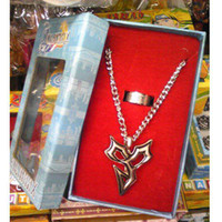 Pendant Necklaces Unisex Pendant Necklaces Wholesale - free shipping japan anime final fantasy cosplay necklace+ring set (3set a lot)b1436