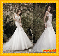 Wholesale 2014 New Luxury Designer Galia Lahav Wedding Dresses Backless Lace Applique Mermaid See Through Wedding Bridal Dress Gowns Dresses