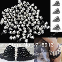 Wholesale 100pcs mm Silver Metal Bullet Spikes Rivet Stud Punk Bag Belt Leathercraft Accessories DIY for clothes