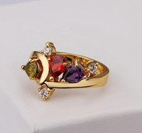 Cheap 2014 New unique individuality jewelry wholesale gold inlaid CZ fashion rings size US8