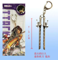 Wholesale japan anime Attack on Titan Shingeki no Kyojin SNK Military Eren Jaeger Sword Knife Weapon Silver keychain b2097