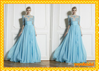 Cheap 2014 Fashion Blue Zuhair Murad Sheer High Neck Evening Dresses Backless Long Sleeve Celebrity Applique Formal Prom Party Dress Gowns
