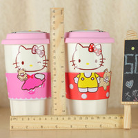 Wholesale Cartoon kitty cat ceramic mug silicone cup lid presenting non slip insulated sleeve grip and man made leather coaster