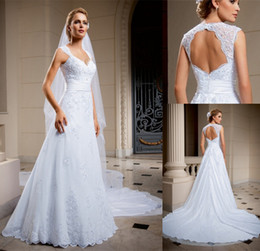 Wholesale 2014 New Arrival Center Novias A Line Wedding Dresses Bridal Gown With Sheer V Neck Backless Lace Crystal Appliques Chapel Train Sku cn26