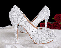 Wholesale new Crystal princess lace wedding shoes white pearl rhinestone dinner party shoes bridal ultra high heels shoes