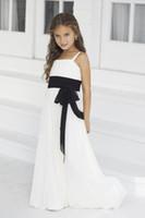 Precio de Líneas blancas-Blanco Pretty Girls Pantalones Vestidos Una línea de espaguetis palabra de longitud Negro cinturón de cremallera de gasa flores vestidos de las niñas de baile de vestidos de baile
