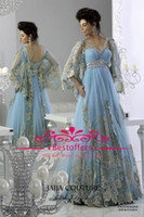 Reference Images Halter Lace Light Blue prom Dresses Arabic Kaftan Runway Evening Dresses bat Long Sleeves lace Applique Chiffon Abaya Dubai Evening Gowns