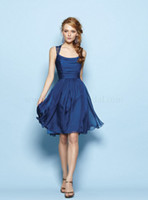 Wholesale 2014 Custom Made New Spring Simple Cheap Royal Blue Scoop Sleeveless Empire A Line Knee Length Lace Ruffle Chiffon Bridesmaid Dress
