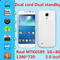 Wholesale Dual card dual standby S4 i9500 G WCDMA smartphone quad core super real MTK6589 inch X720 HD screen MP high definition camera