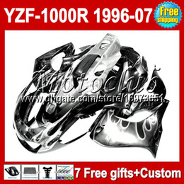 Canada 7gifts Pour YAMAHA YZF1000R Flammes blanches non argentées YZF 1000R Thunderace M # 90680 2004 2005 2006 2007 1996 1997 1998 1999 2000 Carénage supplier yzf 1996 Offre