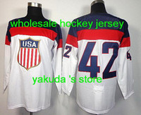Cheap 2014 Sochi Olympic Team USA 42# David Backes White Man Ice Hockey Jerseys, The USA Hockey Jersey For The Olympics