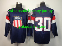 Cheap 2014 Sochi Olympics Game Jerseys Hockey Wear Ice Hockey Jerseys #30 Ryan Miller Dark Blue Men`s Hockey Jerseys
