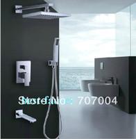 Cheap Concealed Wall Mounted Bathroom Rain Bath Shower Faucet Mixer Set w Hand Spray Bathtub Tap