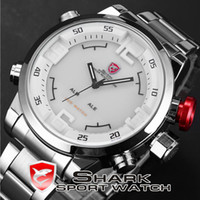 Cheap Military SHARK Stainless Full Steel Japan Movement Dual Time Analog & Digital Date Alarm Quartz Wrist Mens Sport Watch   SH104