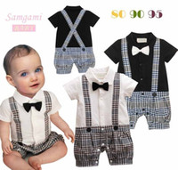 Boy Summer 100% Cotton Wholesale - Infant Boy Rompers With Bow-tie Baby One Piece Romper Kids Climb Clothes Toddler Plaid Jumpsuits