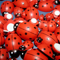 >3 Years, Small parts, do not swallow beetle stickers - mm Wooden Ladybug With Sponge Sticker Cute Artificial Mini Ladybird Home Decorate Lady Beetle for DIY Crafts decorative