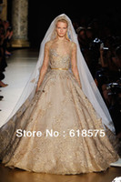 Cheap Vintage Luxurious A Line Gold Embroidery Long Lace Sleeve Elie Saab Wedding Dresses for Sale