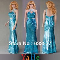 Cheap Long Prom Sequin Dresses Bridesmaid Dress Under 50$ Free Shipping Blue Party Celebrity Formal Dresses Mermaid Gowns Brand LD1094