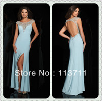 Cheap Entirely High Neck Beaded Open Back Chiffon Light Blue Prom Dresses under 50
