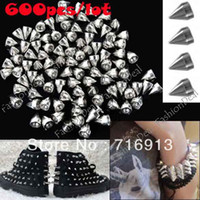 Wholesale 600pcs mm Silver Metal Bullet Spikes Rivet Stud Punk Bag Belt Leathercraft Accessories DIY for clothes