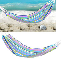 Wholesale new Family Garden Outdoor furniture Portable Camping Camp Canvas Stripes Hammock with nylon rope