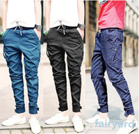 men color jeans - Vintage Feet Jeans Men Fashion Slim Fit Skinny Pencil Trousers Solid Color