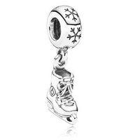 Wholesale Ice Skate Pendants Dangles Silver European charms for Snake chain Bracelets X395