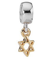 Wholesale Star of david sterling silver with K gold Plated pendant Charm bead For Snake chain European style pandora Bracelets Necklace