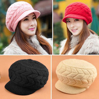 Wholesale Women Girl s Accessories Knitting Brim Rabbit Fur Hats Free Size Caps H120 salebags