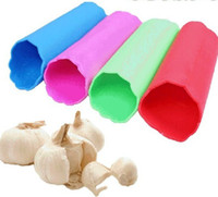 Wholesale 200pc Garlic Peeling Tube Rubber Roll Peel skin Red Top Silica Gel Garlic Peeler Peel Cooking Helper J104