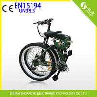 Wholesale dual v battery quot folding mountain electric bicycle speed ebike