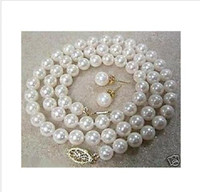 Wholesale 100 Real mm White Akoya Cultured Shell Pearl Necklace Earring Set quot AAA