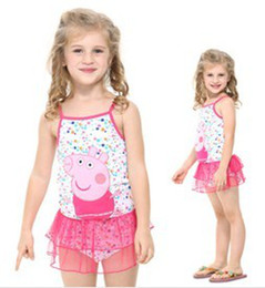 Wholesale The new summer pepe peppa pig pig brand foreign trade cotton skirt with shoulder straps type swimsuit of the girls