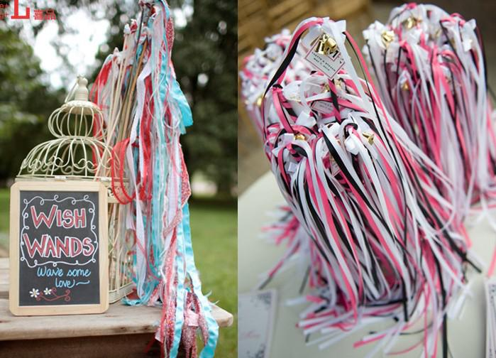 newest twirling ribbon streamers wedding favor ribbon sticks wands with bells confetti wedding party decoration practical favors online with 13075piece