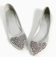 Cheap 2013 pointed toe black gold silver bridal flats with rhinestones genuine leather prom flat crystal wedding shoes for women