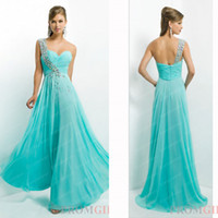 Cheap 2014 Aqua Prom Dresses Sexy Hot One Shoulder Rhinestones Crystals Pleated Chiffon Empire Floor Length Summer Beach Graduation Gowns BL 9760