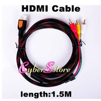 Wholesale 1 M p Nylon type High Speed HDMI Male to RCA RGB Audio Video AV Component Cable Lead