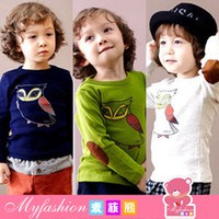 Cheap European and American spring | quality children's clothing spring 2014 Korean version of men and women round neck long-sleeved T-shirt owl 4